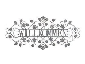 3324971-00000 Wanddekor Willkom. Met grau