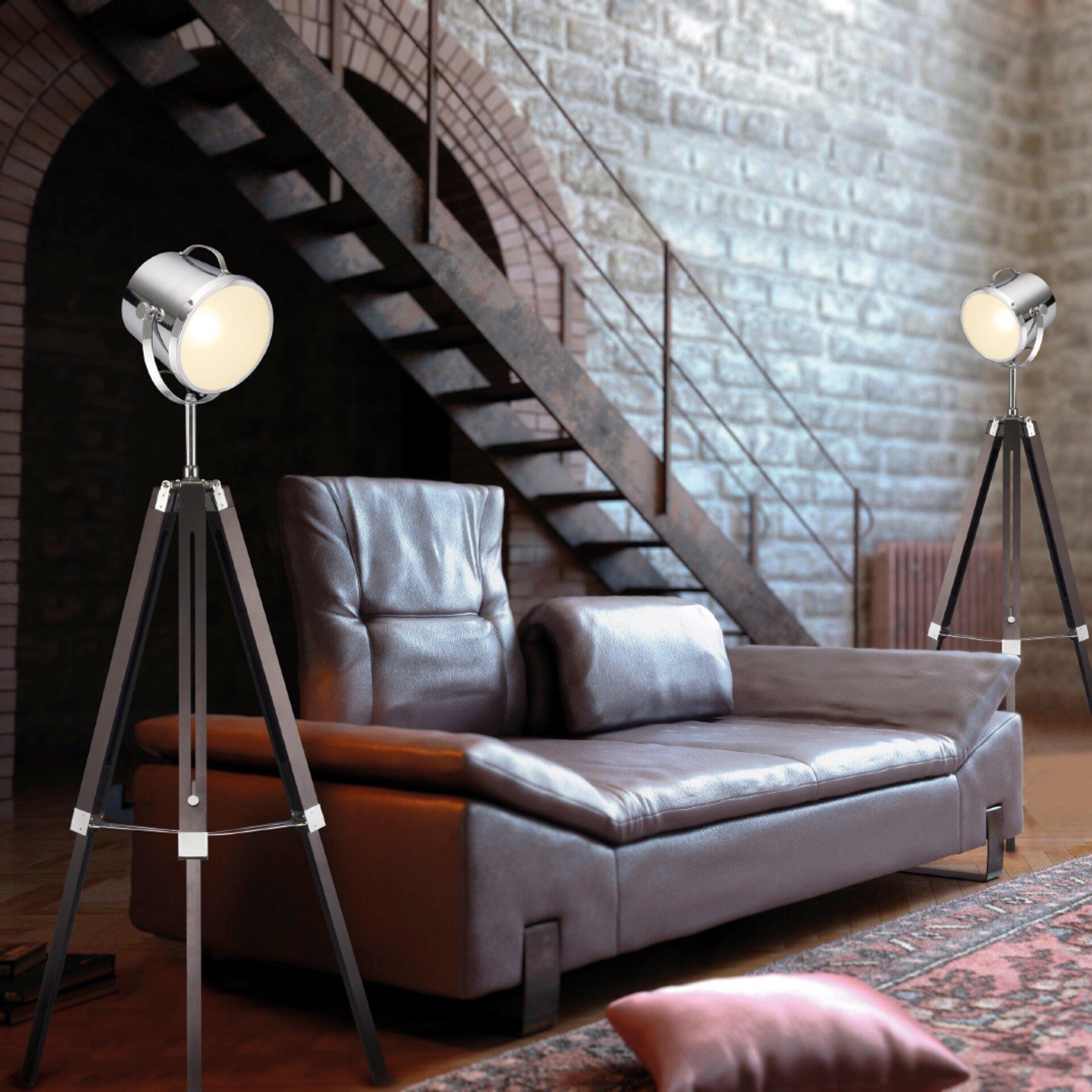 Stehlampe aus Holz und Metall