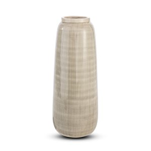 3302140-00000 Vase creme mit Karomuster