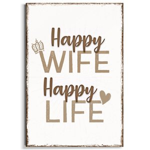3322896-00000 Happy Wife Happy LIfe 20x30 cm