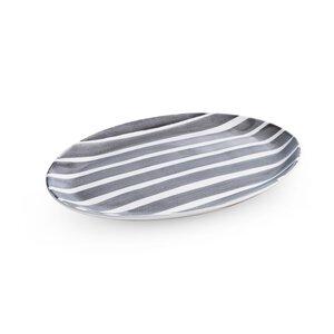 3459722-00000 Platte oval weiß/grau Keramik
