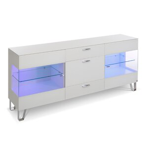 40 10 Cube Sideboard weiß Klarglas