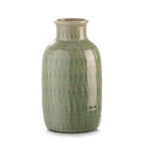 3302138-00000 Vase grün mit Muster