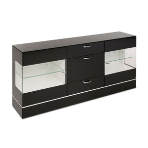 40 10 Cube Sideboard schwarz Klarglas