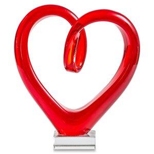 3452375-00000 Herz auf Fuß rot Glas