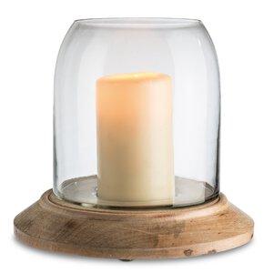 3167045-00000 Windlicht mit Holzfuss