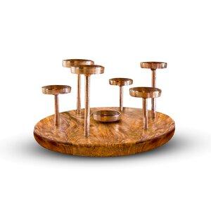 3246139-00000 Kerzenhalter auf Holztablett