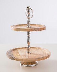 3301357-00000 Etagere 2-stöckig Holz/Alumin.