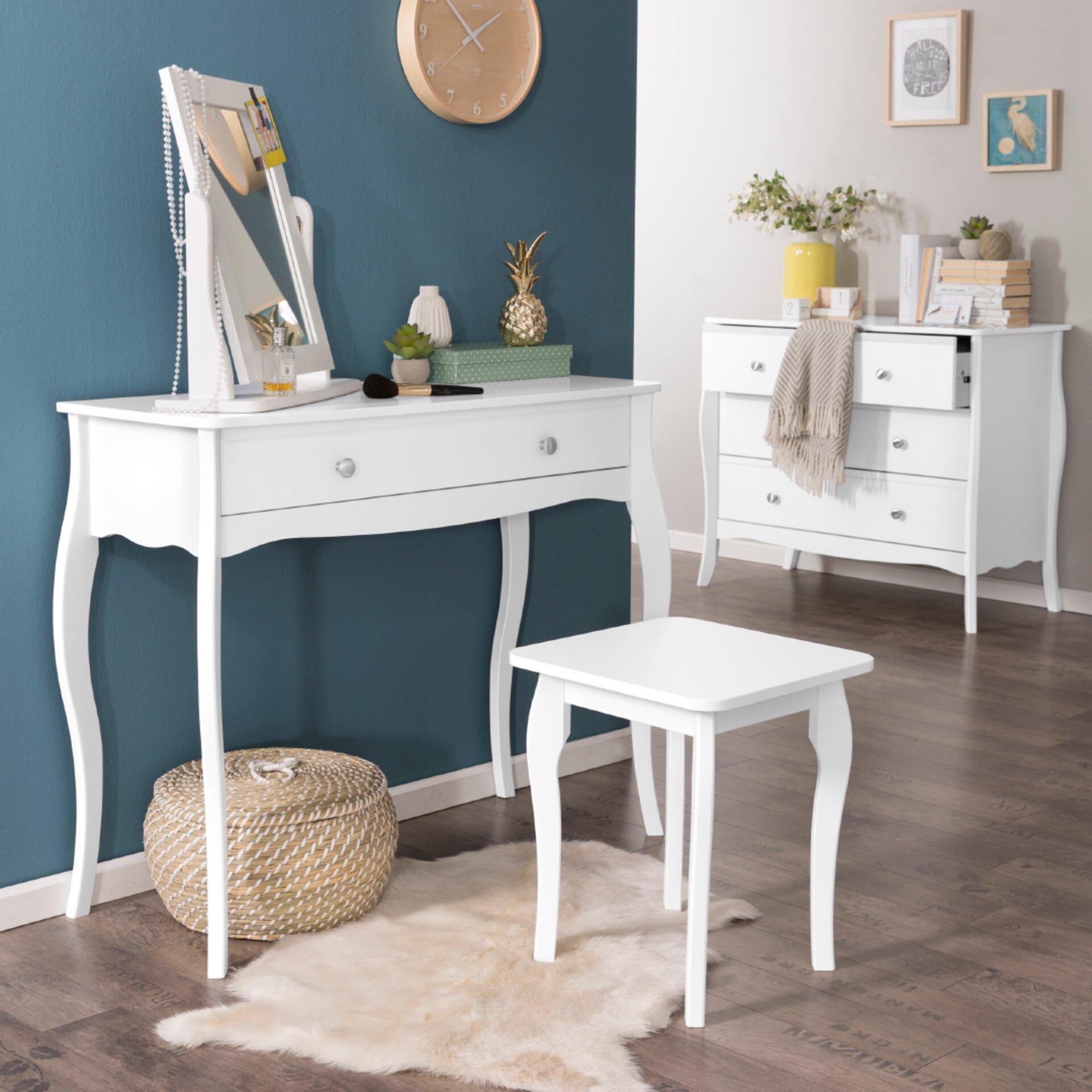 Sitzhocker Weiß Holzoptik