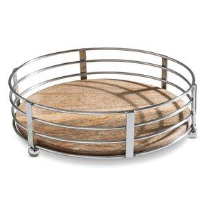 3249703-00000 Tablett Holz rund/Edelstahl