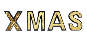 """3538649-00000 Schriftzug """"XMAS"""" gold"""