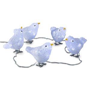 3545930-00000 Vögel 5 St.Acryl m. je 8 LED