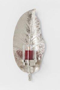 3270664-00000 Windlicht Leaf Silber