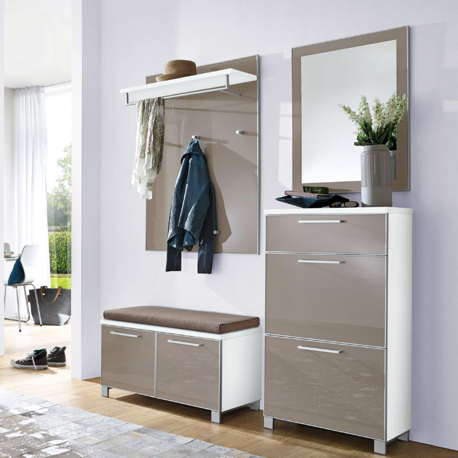 Schuhschrank in grau und Glas von Voss Möbel