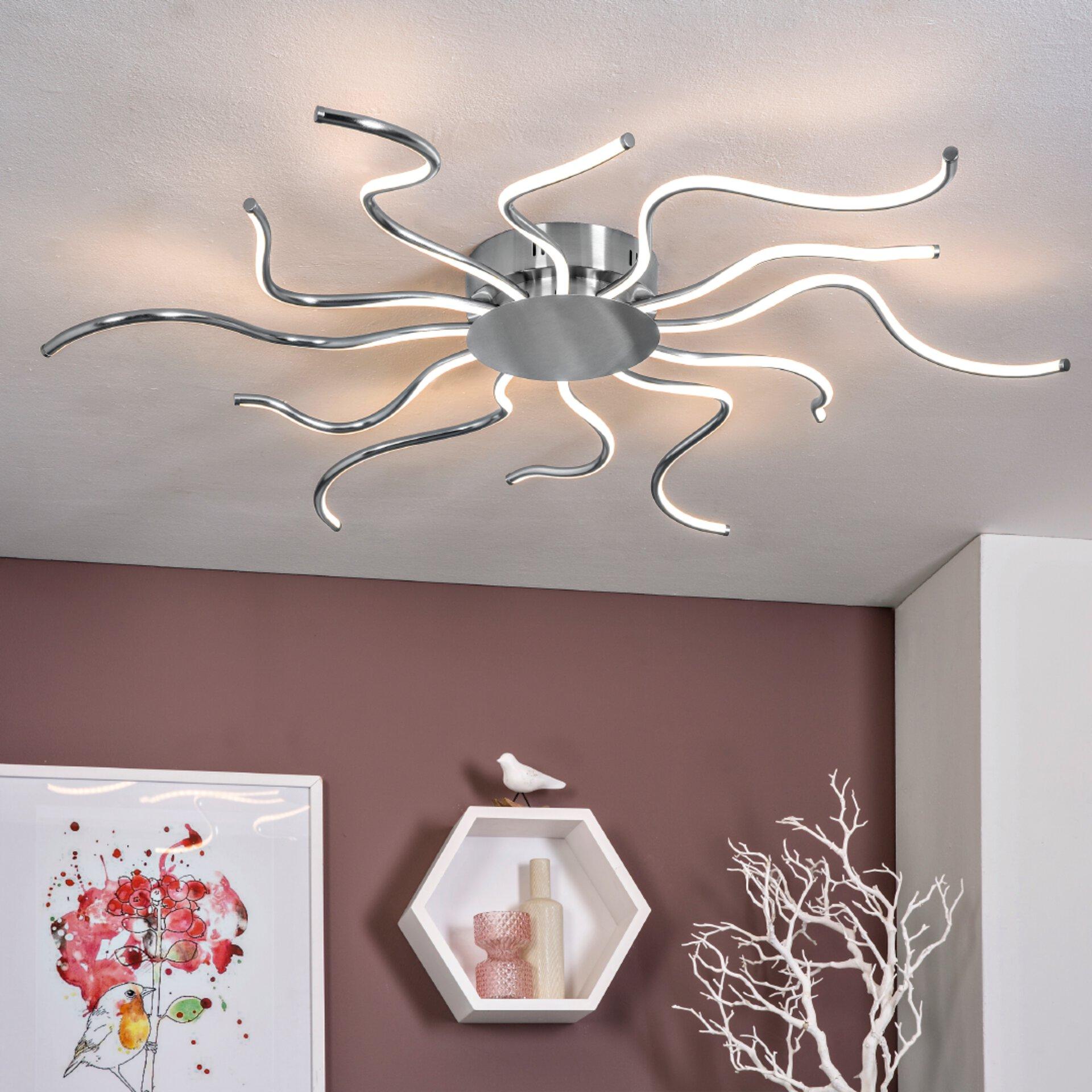LED-Deckenleuchte, Silber, Durchmesser: 93 cm
